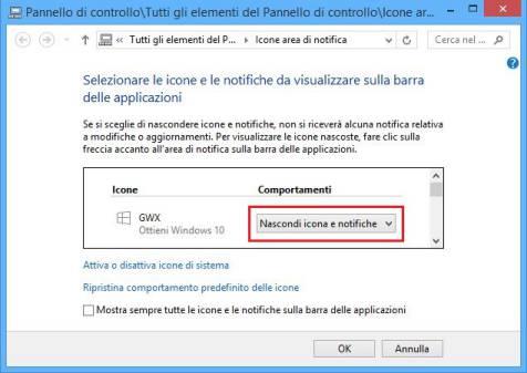 nascondi aggiornamento di windows 10
